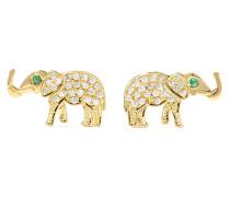 Ohrringe aus 18 Karat  mit Diamanten und Smaragden