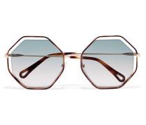 Poppy Goldfarbene Sonnenbrille Mit Achteckigem Rahmen Aus Azetat -