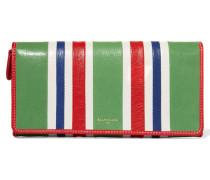 Gestreiftes Portemonnaie Aus Strukturiertem Leder - Grün