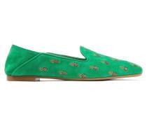 Ananas Bestickte Slippers Aus Veloursleder -