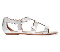 Sandalen Aus Lasergeschnittenem Verspiegeltem Leder -