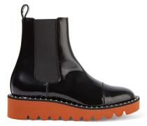 Chelsea Boots Aus Lacklederimitat - Schwarz