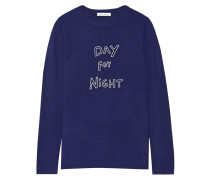 Day For Night Bestickter Wollpullover - Navy