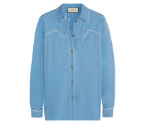 Hemd Aus Popeline Aus Einer Baumwollmischung Mit Seidenbesatz - Hellblau