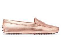 Gommino Loafers Aus Strukturiertem Leder Mit Metallic-effekt -