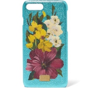Iphone 7-hülle Aus Strukturiertem Leder Und Acryl Mit Floralem Print In Metallic-optik -