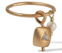 Belle Vergoldeter Ring Mit Perle Und Cubic Zirkonia-stein