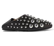 Edie Nietenbesetzte Loafers Aus Leder - Schwarz
