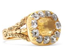 1800s Ring aus 15 Karat  mit Citrin und Diamanten