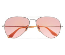 Aviator Silberfarbene Sonnenbrille