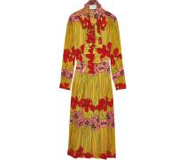 Seidenkleid Aus Crêpe De Chine Mit Blumendruck - Rot
