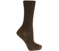 Socken aus Strick in Häkeloptik mit Metallic-Effekt