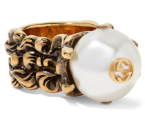 Brünierter farbener Ring Mit Kunstperle