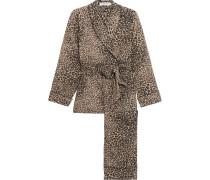 Odette Pyjama Aus Vorgewaschener Seide Mit Leopardenprint - Leoparden-Print