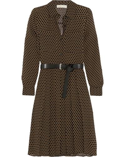 michael kors damen hemdblusenkleid aus chiffon mit polka dots und g rtel reduziert. Black Bedroom Furniture Sets. Home Design Ideas