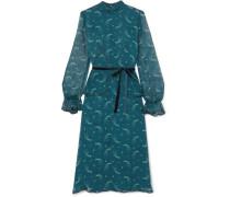 Star Burst Kleid aus Bedrucktem Seidenchiffon in Knitteroptik