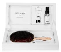 Set aus Bürste mit Roségoldauflage und Wildschweinborsten & Haarpflege