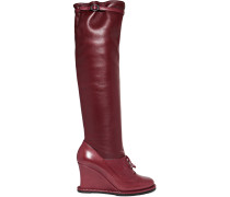 Kniehohe Stiefel Aus Leder Mit Keilabsatz -