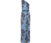 Akita Asymmetrische Robe Aus Bedrucktem Seidenchiffon Mit Gürtel -