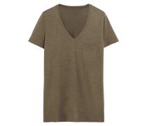 Whisper T-Shirt aus Baumwoll-Jersey mit Flammgarneffekt