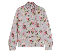 Aubrey drapierte Bluse aus Crêpe de Chine aus Seide mit Blumenprint