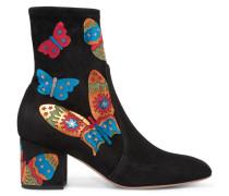 Ankle Boots Aus Elastischem Veloursleder Mit Applikationen - Schwarz