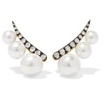 Ohrringe aus 18 Karat  mit Perlen und Diamanten