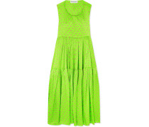 Apron Bedrucktes Kleid Aus Glänzendem Jacquard Aus Seide Mit Freier Rückenpartie -