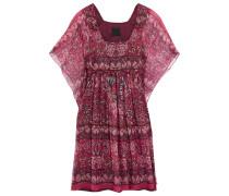 Bedrucktes Minikleid Aus Einer Seidenmischung Mit Streifen Aus Lamé - Pink