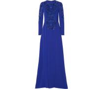 Verzierte Robe Aus Cady Aus Einer Seidenmischung Mit Tülleinsätzen - Königsblau