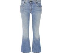 Halbhohe Verkürzte Bootcut-jeans - Heller Denim
