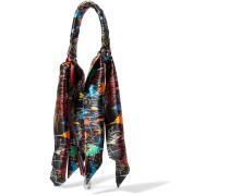 Taschenträger aus Bedrucktem Seidensatin und Leder -