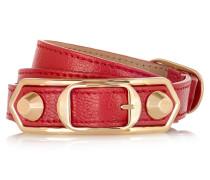 Holiday Collection Triple Tour Armband Aus Strukturiertem Leder Mit Golddetails - Rot
