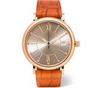 Portofino Automatic 37 Mm Uhr aus 18 Karat Rotgold mit Diamanten und Alligatorlederarmband -