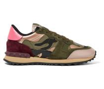 Sneakers Aus Canvas Mit Camouflage-print Und Besatz Aus Leder Und Veloursleder -