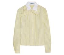 Gestreiftes Baumwollhemd Mit Rüschen Und Schleifenverzierung - Pastellgelb