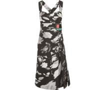 Bedrucktes Kleid Aus Glänzendem Twill Mit Wickeleffekt -