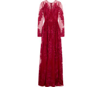 Bestickte Robe aus Tüll aus einer Seidenmischung