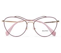 Goldfarbene Brille Mit Azetat Und Cat-eye-rahmen - Pink