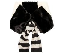 Gestreifter Schals aus Faux Fur und Wolle