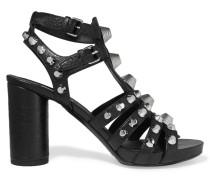 Nietenbesetzte Sandalen Aus Strukturiertem Leder -