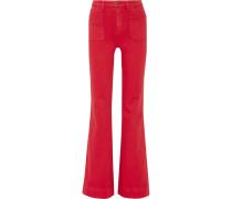 Juno Hoch Sitzende Jeans Mit Weitem Bein - Rot