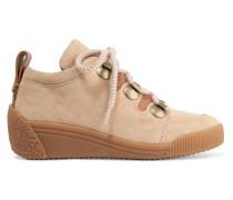 Sneakers Mit Keilabsatz Aus Nubukleder Mit Lederbesatz -