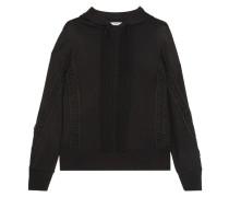 Sweatshirt Aus Stretch-jersey Mit Besätzen Aus Guipure-spitze Und Kapuze -