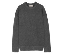 Oversized-pullover Aus Strukturiertem Stretch-strick - Grau