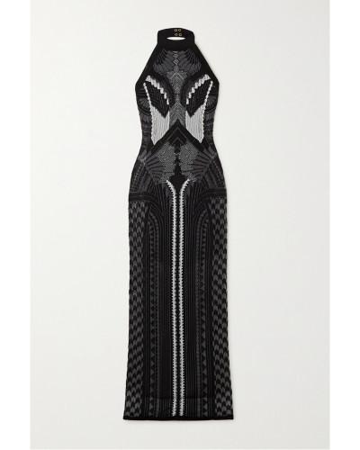 Neckholder-robe Aus Jacquard-strick