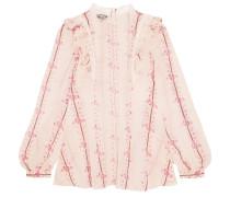 Bluse Aus Bedrucktem Seidenchiffon Mit Einem Besatz Aus Guipure-spitze - Pink