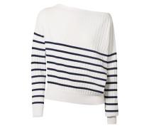 Schulterfreier Pullover aus Gestreiftem Stretch-strick -