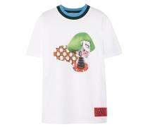 Bedrucktes T-shirt Aus Baumwoll-jersey Mit Besatz In Rippstrick -