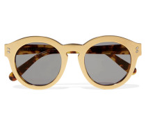 Goldfarbene Sonnenbrille Mit Rundem Rahmen Aus Azetat